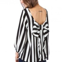 Coletta Bow Blouse in Striped Classic - ShopSosie.com