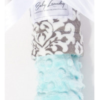 "Baby Laundry 91235 Soft Minky Damask Charcoal Blue Cuddle 14""x18"" Baby Blankey with Pacifier Clip"
