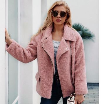 ZADORIN 2018 New Faux Lambs Wool Bomber Jacket Plus Size Women Coat Women Teddy Bear Jacket Pink Black Autumn Streetwear Coats