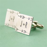 Initials & Arrows Cuff Links - Spiffing Jewelry