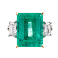 Aletto Bros. Emerald Diamond Three-Stone Ring