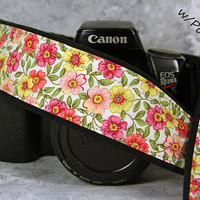 Floral Camera Strap with Pocket, dSLR, Pink, Coral, Yellow, Floral, SLR, 17 cw