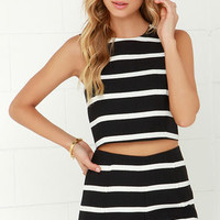 Come Alive Ivory and Black Striped Two-Piece Set