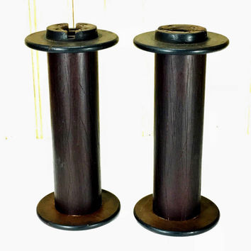 Vintage Industrial Salvage Textile Mill Wooden Spools For Repurpose or Decor