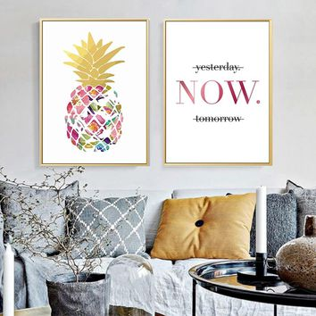 Modern Yellow Gold Pineapple Today Quotes Canvas Paintings Wall Art Nordic Posters Pictures For Office Living Room Home Decor