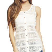 Lace Front Button Top | Wet Seal