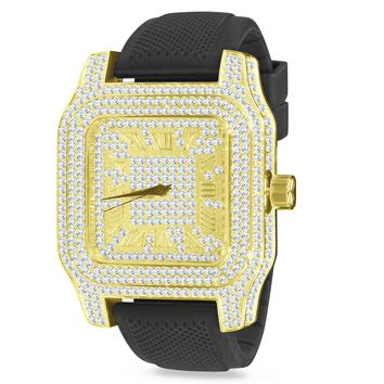 Gold Roman Numeral Square face Mens Black Silicone Band Watch