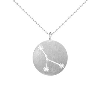 Silver Zodiac Pendant with Diamonds - Cancer