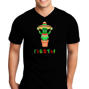 Fiesta Cactus Poncho Text Adult Dark V-Neck T-Shirt