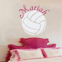 "Girl Name Wall Decals -Volleyball Wall Name Decal- Girl Baby Nursery 22""H x 22""W"