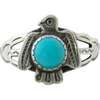 Navajo Sterling Silver Turquoise Thunderbird Ring Native American circa 1960-70s