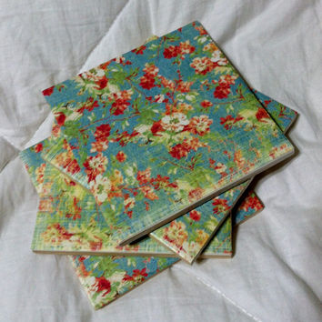 Vintage Light Blue Floral Pattern Tile Coaster - Set of 4 Coasters - Cream, Green, & Pink Flowers