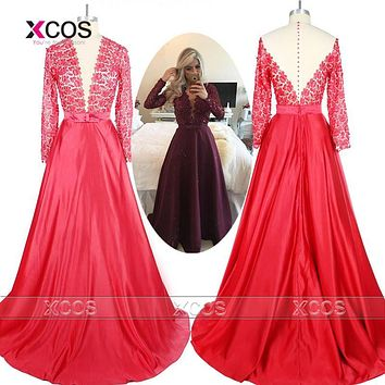 Real Photo Burgundy Long Sleeve Prom Dresses Sheer Back Lace Evening Party Dress Vestido De Festa Cheap Long Prom Dresses SC143