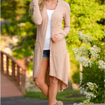 Solid Color Buttoned Asymmetric Long Cardigan