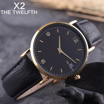 Watch men Business fashion leather watch simple brand X2 THE TWELFTH dress watch 40MM montre homme male clock 5 colors