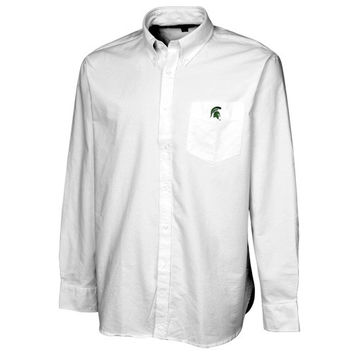Colony Sportswear Michigan State Spartans Solid Oxford Long Sleeve Button-Down Shirt - White