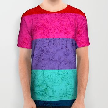 Colorful stripes on wall All Over Print Shirt by EDrawings38