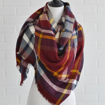 Blanket Scarf-Barn Red