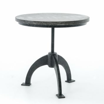 Petra Bluestone End Table-Bluestone, Distressed Midnight