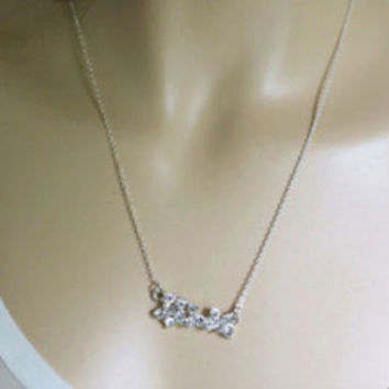 Crystal Bar Necklace Sterling Silver Chain Bridesmaids Gift | LaLaMooD