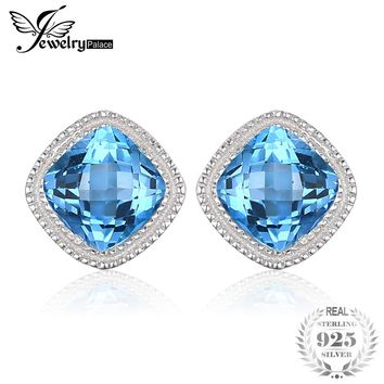 JewelryPalace Vintage 1.43ct Square Natural Blue Topaz Stud Earrings 100% 925 Sterling Silver Fashion Wedding Jewelry For Women