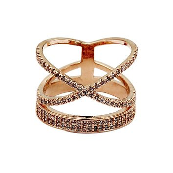 fashion hat crystal rose gold ring