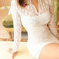 RESTOCKED. LACE ME ALL OVER MINI DRESS IN WHITE