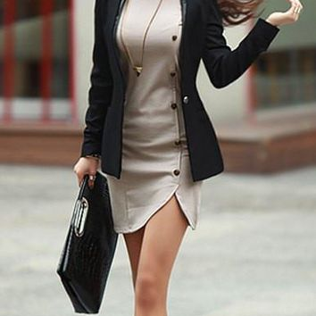 Light Gray Button-Up Long Sleeve Dress