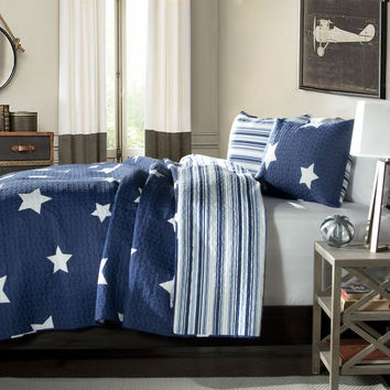 Twin Navy Stars & Stripes At Night Quilt Coverlet Bedspread Set