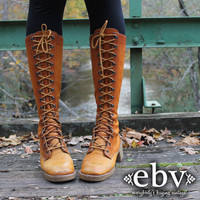 Vintage 70's Brown Leather Lace Up Hippie Boho Campus Riding Knee Boots 8