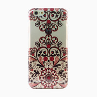 Clear Black Red Filigree iPhone 6 Case