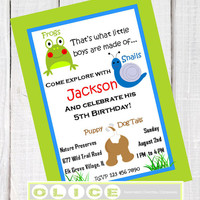 "BIRTHDAY PARTY printable  Invitation ""Frogs, Snails and Puppy Dog Tails""  Party Printables, green and blue,  party for boy and girl"