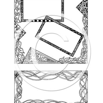 Tangle Journal Page, colouring page for children and adults, instant download, hand drawn colouring page, Zentangle patterns