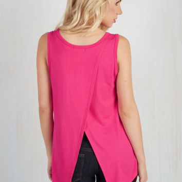 Athletic Mid-length Sleeveless Boost the Basics Tank in Magenta