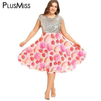 PlusMiss Plus Size 5XL Fit and Flare Sequin Dress Women Oversized Print Night Party Club Chiffon Dress 2017 Big Size Vestidos
