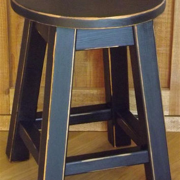 "Reclaimed wood stool/ Primitive/ black/ round stool/ painted/ 16"" H"