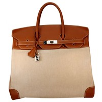 Hermes VERY RARE HAC Birkin 36cm Gold Swift Leather & Toile with Palladium Hardware - ON SALE MUST SELL