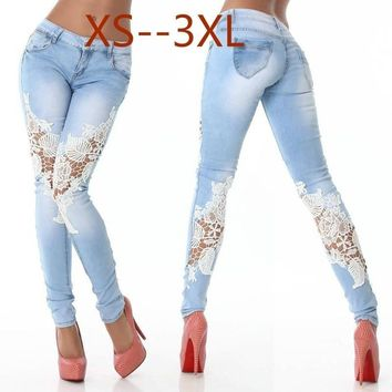 Skinny Lace Crochet Stretch Denim Jeans Women's Slim Blue Gradient Ramp Pants