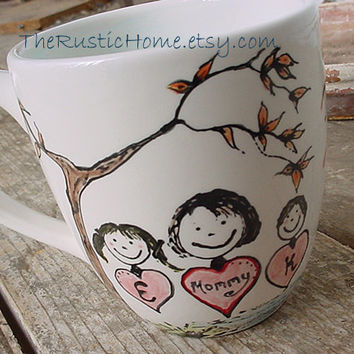 Custom family mug in your desired design colors personalized kiln fired pottery