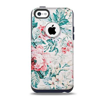 The Coral & Blue Grunge Watercolor Floral  Skin for the iPhone 5c OtterBox Commuter Case