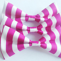 Hot Pink Striped Bow