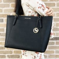 Michael Kors Ciara Large East West Top Zip Tote Black Saffiano 18Fall