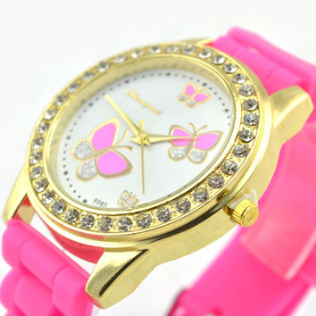 Great Deal Gift Designer's Trendy New Arrival Good Price Awesome 6-color Silicone Stylish Butterfly Watch [8863720199]