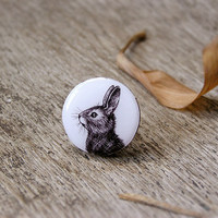Animal ring Bunny Rabbit, silvertone, bunny rabbit jewelry, black and white, animal jewelry
