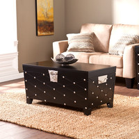 Nailhead Cocktail Table Trunk, Black/Satin Silver