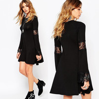 Hot Sale Women's Fashion Lace Mosaic Round-neck Long Sleeve One Piece Dress [4917746628]