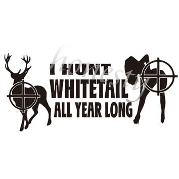 Deer and Girl Hunter Wall Home Glass Window Door Car Sticker Laptop Auto Truck Black Vinyl Decal Sticker Decor Gift 20.0cmX9.1cm