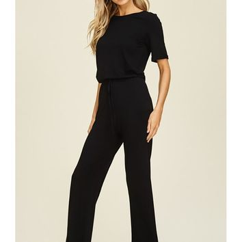 Women Relaxed Fit Solid Elastic Waist Tie Jumpsuit