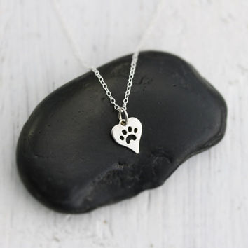 Heart Paw Print Necklace -Sterling Silver Heart with Paw Print Necklace -Tiny Heart Paw Print -Cat Dog Lovers Jewelry -Pet Memorial Necklace
