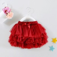 1 Year Old Baby Girl Skirt Red Mini Tutu Vestido 2017 Sweet Sash Toddler Baby Clothes for 12 24 Month RBS174001